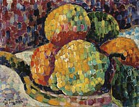 tablou paul signac - still life, plate with oranges, 1918