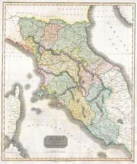 Tablou canvas harta antica tuscany (florence), italy, 1814