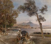 tablou oswald achenbach -  evening at the gulf of naples [1888]