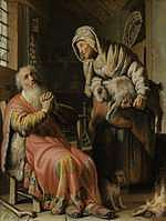 tablou rembrandt - tovit and anna with a kid (1626)