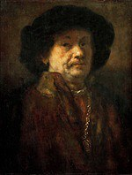 tablou rembrandt - autoportret in a fur coat with a gold chain and earrings (1655)
