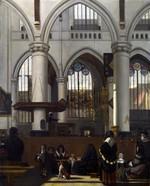 tablou witte, emanuel de - the interior of the oude kerk, amsterdam, during a sermon