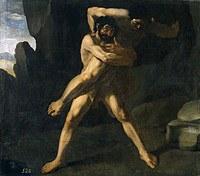 tablou francisco de zurbaran - cycle of hercules. wrestling with antaeus hercules (1634)