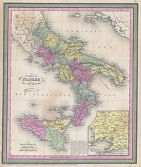 Tablou canvas harta antica southern italy (naples,sicily, calabria), 1850