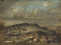 Tablou canvas jan van kessel the elder - fish and marine landscape