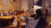 Tablou canvas albert anker - kindergarten (1890)