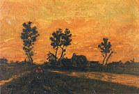 tablou van gogh - landscape at sunset, 1885