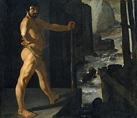 tablou francisco de zurbaran - cycle of hercules. hercules blocked the river alpheus (1634)