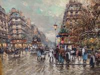 Tablou canvas antoine blanchard - along the louvre
