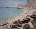 tablou claude monet   boats on the beach at etretat, 1883