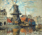 tablou claude monet - windmill on the onbekende canal, amsterdam, 1874