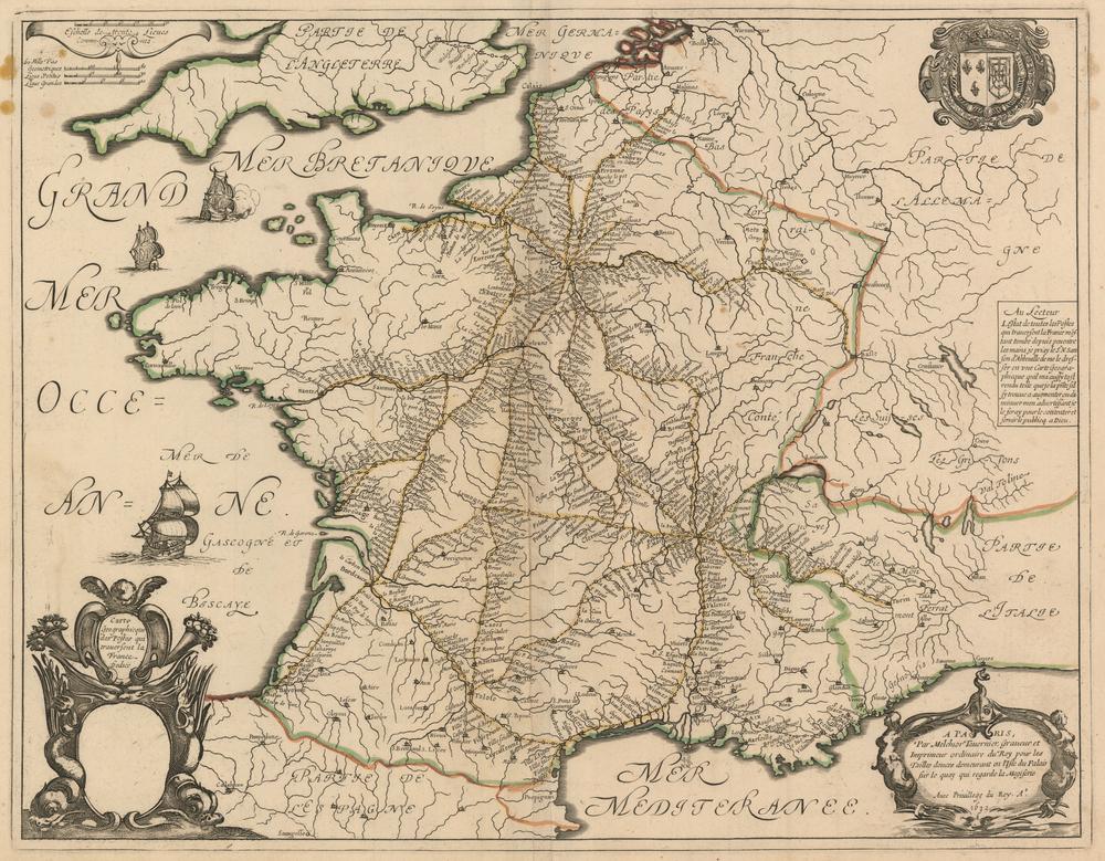 Tablou Canvas Harta Antica Franta 1632 Tablouri Harti Antice