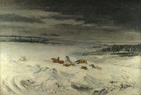 tablou gustave courbet - diligence in the snow
