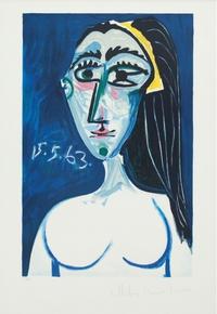 tablou picasso - buste de femme nue face, 1963
