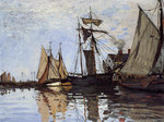tablou claude monet   boats in the port of honfleur, 1866