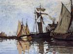 Tablou canvas claude monet   boats in the port of honfleur, 1866