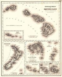 tablou harta antica pacific, 1857