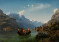 tablou hans gude - bridal procession on the hardangerfjord, 1848