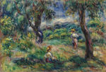 Tablou canvas renoir - landscape in blue, 1915