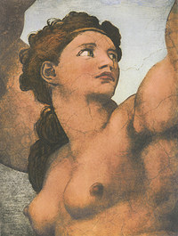 Tablou canvas michelangelo - eva, sistine chapel (detail)