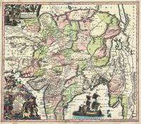 tablou Harta antica india,pakistan,tibet, afghanistan, 1740