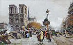 tablou eugene galien laloue - notre dame vue du quai saint michel, paris