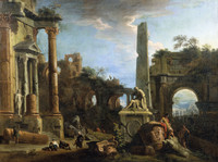 Tablou canvas marco ricci - capriccio with roman ruins, 1729