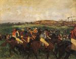 tablou 1862  edgar degas - course de gentlemen avant le depart