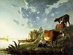 tablou aelbert cuyp - evening in the meadow, 1650