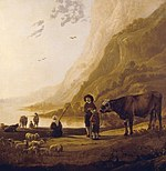 tablou aelbert cuyp - landscape with a shepherd and a bull