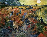 tablou van gogh - the red vineyards in arles (croped version), 1888