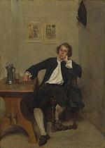 tablou jean louis ernest meissonier - a man in black smoking a pipe