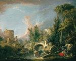 tablou francois boucher - landscape with bridge (1762)