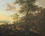 tablou jan dirksz both - italian landscape on evening (1650)