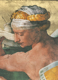Tablou canvas michelangelo - libyan sibyl, sistine chapel (detail)