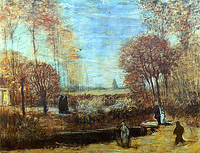 tablou van gogh - the parsonage garden at nuenen with pond and figures, 1885