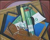 tablou juan gris - still life with bordeuauxflasche, 1919