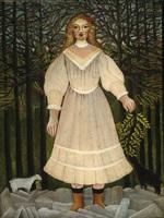 tablou henri julien felix rousseau - young girl in pink