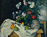 tablou cezanne - still life with flowers and fruits