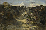 tablou theodore rousseau - a rocky landscape