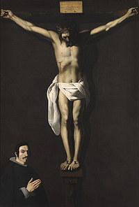 tablou francisco de zurbaran - crucifixion with a donor (1640)
