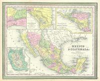 tablou harta antica mexico, guatemala, 1850