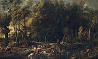 tablou rubens- atalanta and meleager hunting for wild boar calydonian (1636)