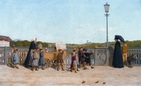 Tablou canvas albert anker  childrens school on the kirchenfeld bridge (1900)