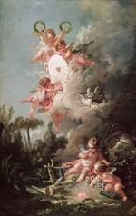 tablou francois boucher - shooting at a target