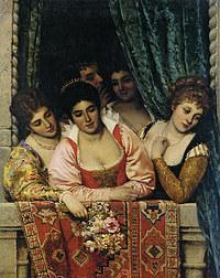tablou eugen von blaas - venetian ladies on a balcony 1875