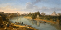 tablou caspar van wittel - rome, a view of the river tiber