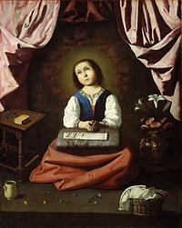 tablou francisco de zurbaran - childhood of the virgin mary (1632)