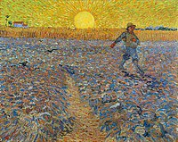 tablou van gogh - sower with setting sun (after millet), 1888