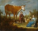 tablou aelbert cuyp - children and cow, 1635